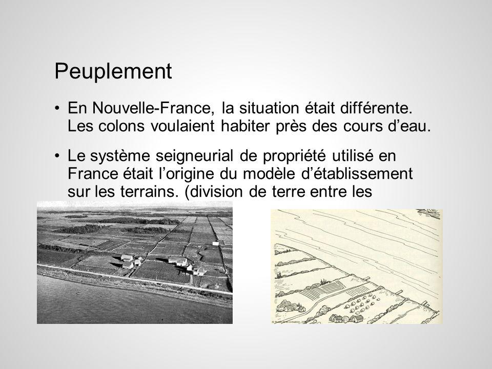 Peuplement En Nouvelle-France, la situation était différente. Les colons voulaient habiter près des cours d'eau.
