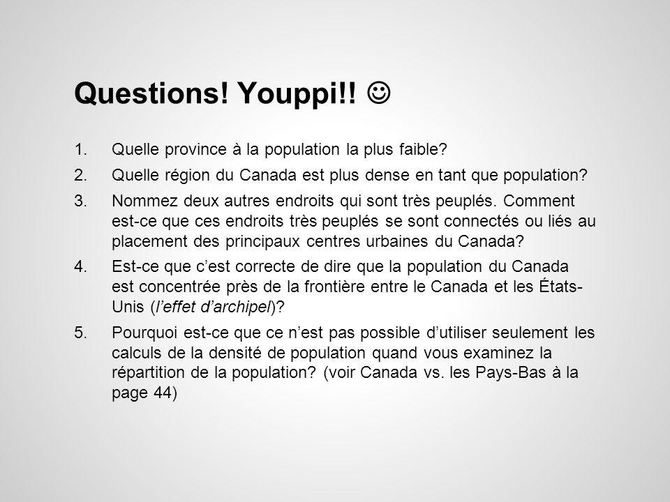 Questions! Youppi!!  Quelle province à la population la plus faible