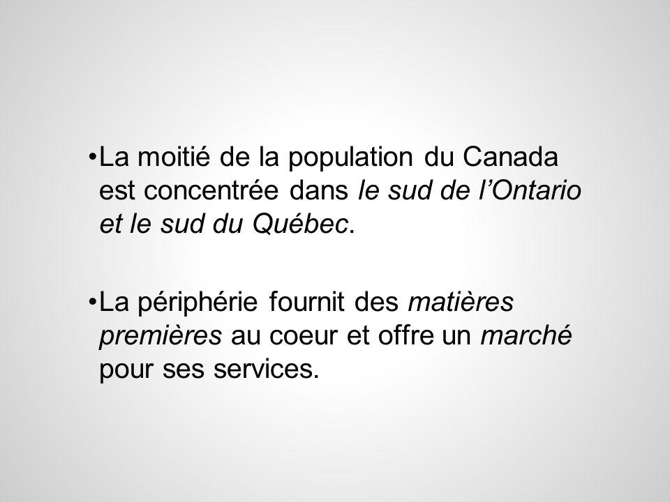 La moitié de la population du Canada est concentrée dans le sud de l'Ontario et le sud du Québec.