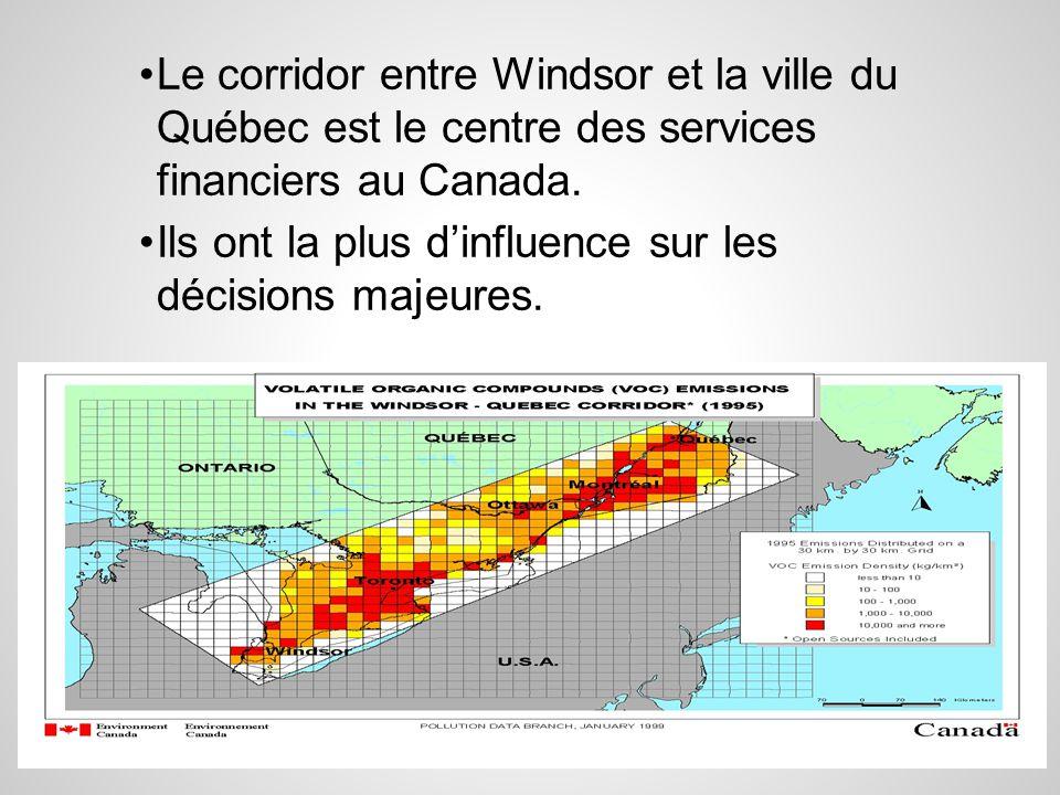 Le corridor entre Windsor et la ville du Québec est le centre des services financiers au Canada.