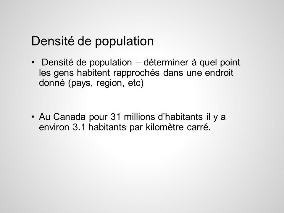 Densité de population Densité de population – déterminer à quel point les gens habitent rapprochés dans une endroit donné (pays, region, etc)