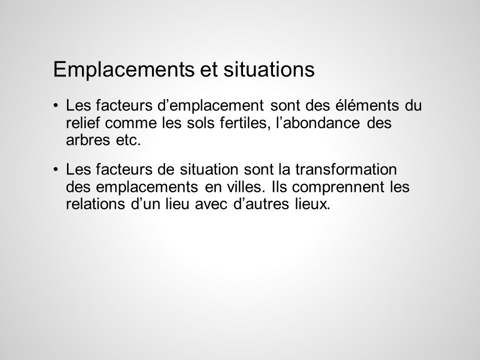 Emplacements et situations