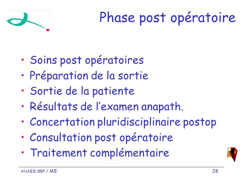 Phase post opératoire Soins post opératoires Préparation de la sortie