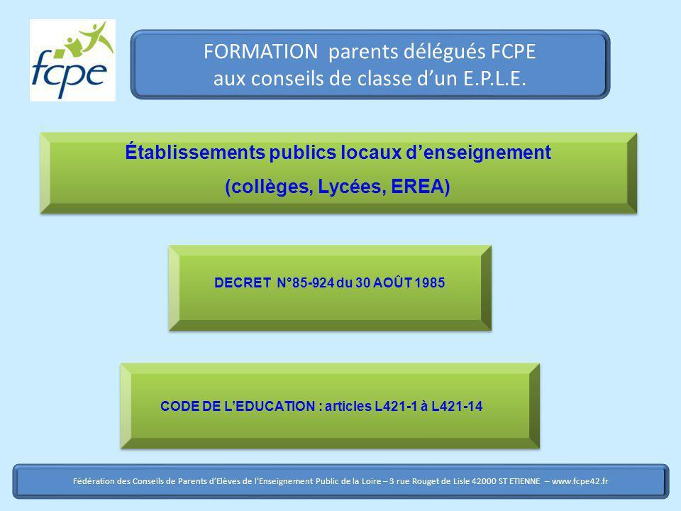 FORMATION parents délégués FCPE aux conseils de classe d'un E.P.L.E.