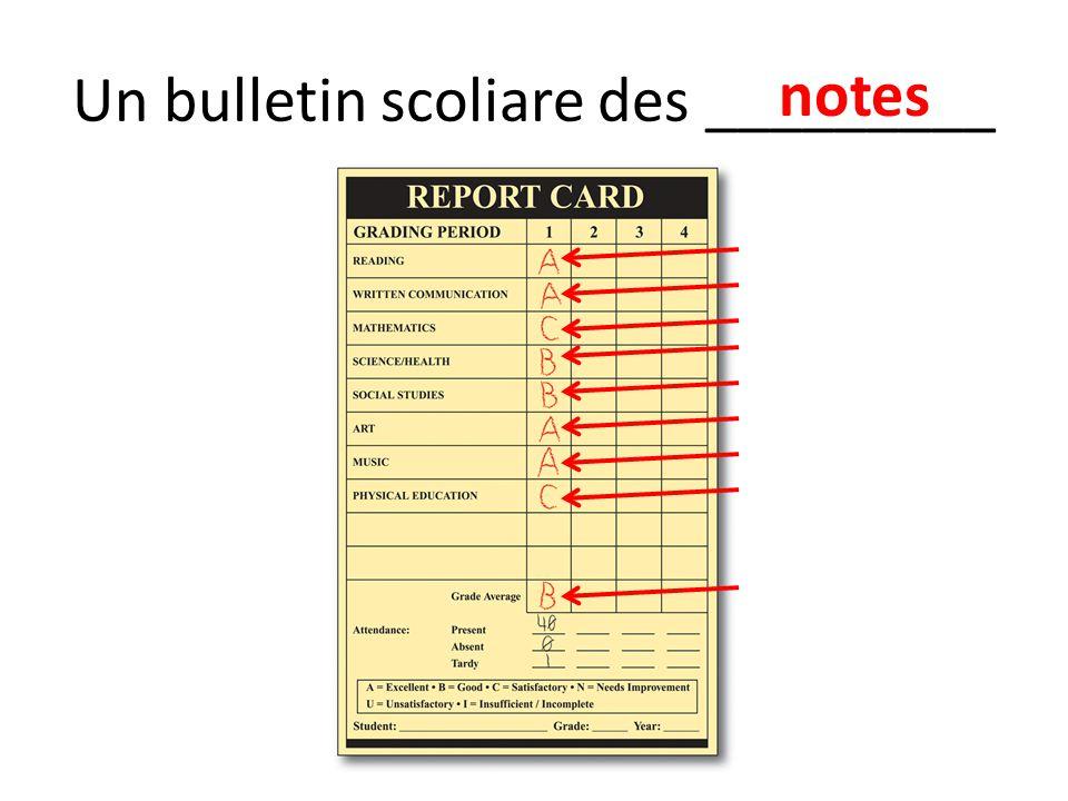 Un bulletin scoliare des _________