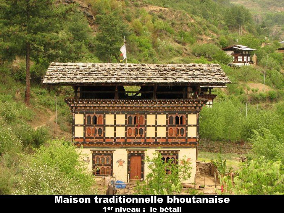 Maison traditionnelle bhoutanaise 1er niveau : le bétail