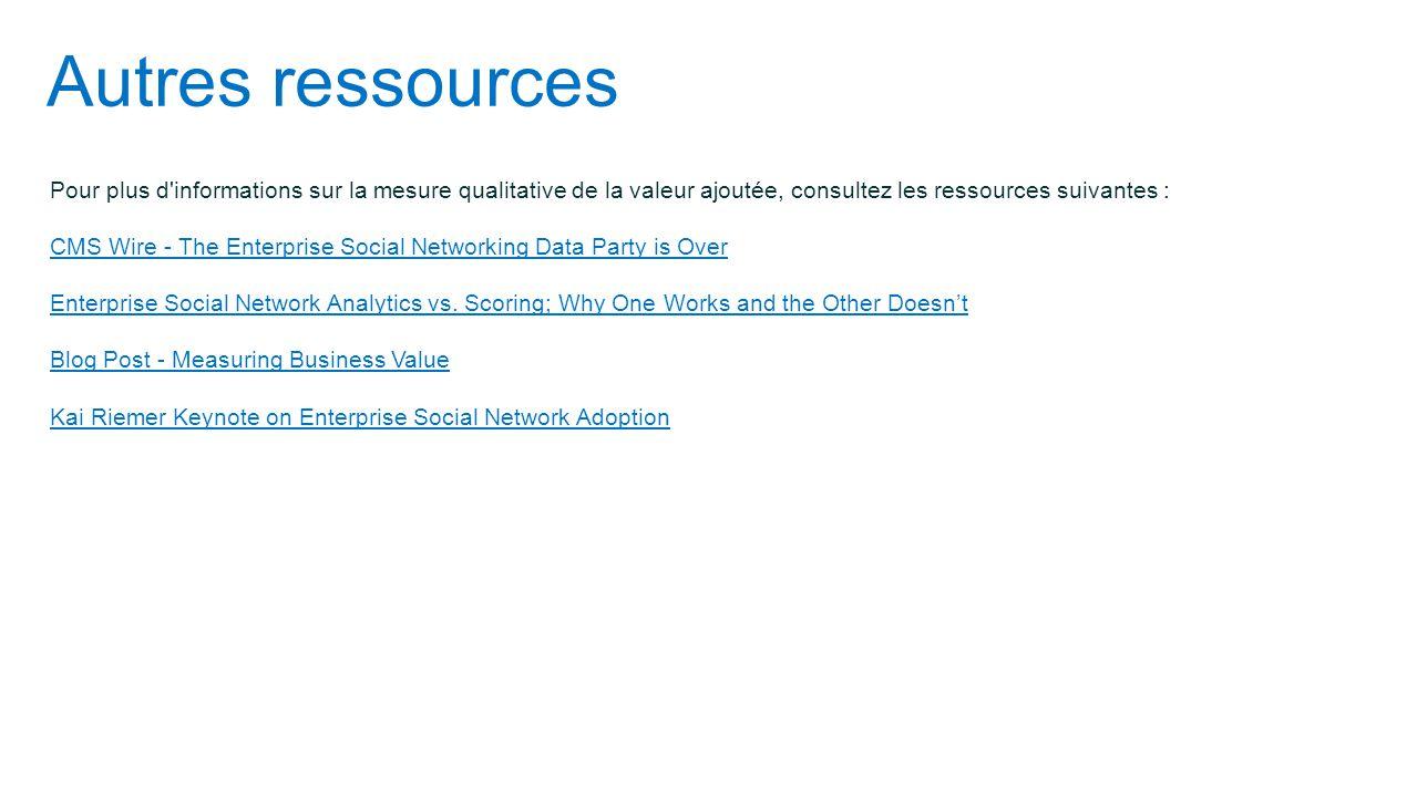 Autres ressources Pour plus d informations sur la mesure qualitative de la valeur ajoutée, consultez les ressources suivantes :
