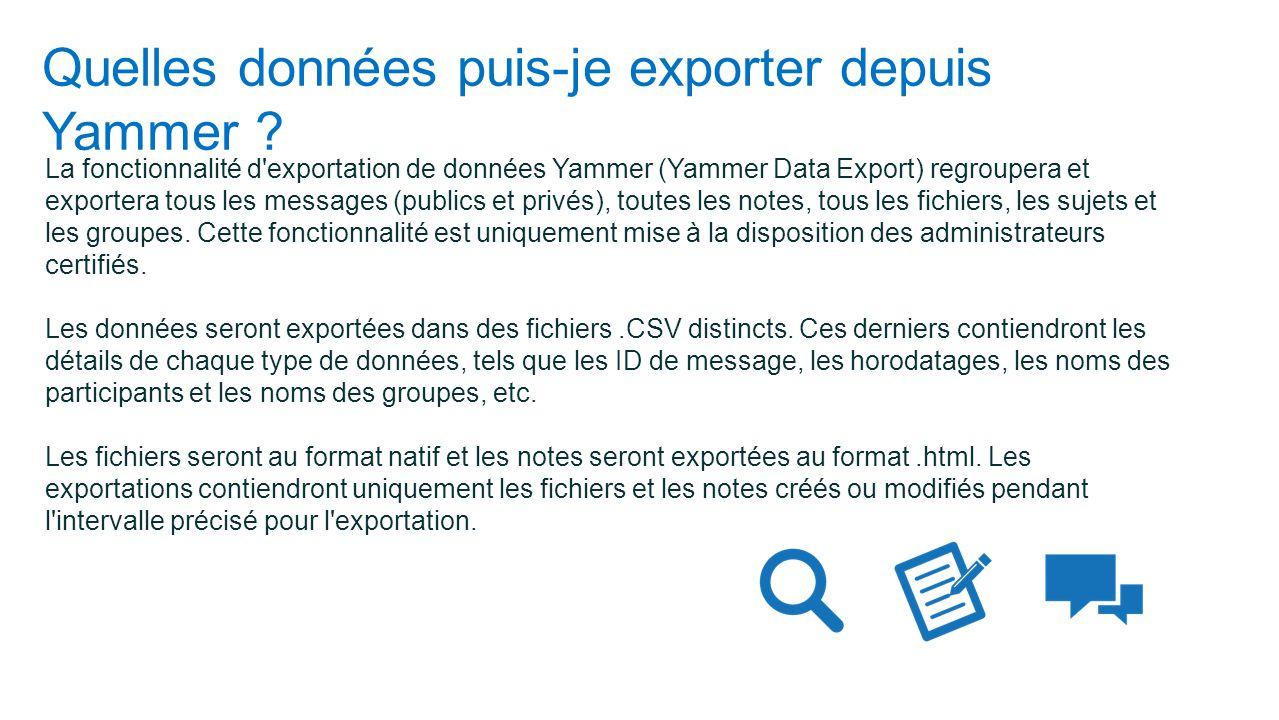 Quelles données puis-je exporter depuis Yammer