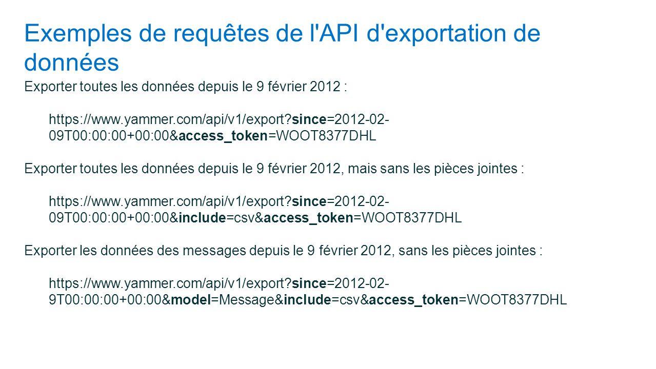 Exemples de requêtes de l API d exportation de données