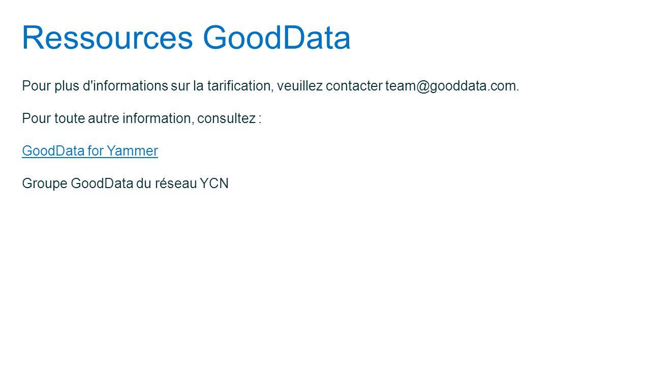 Ressources GoodData Pour plus d informations sur la tarification, veuillez contacter team@gooddata.com. Pour toute autre information, consultez :