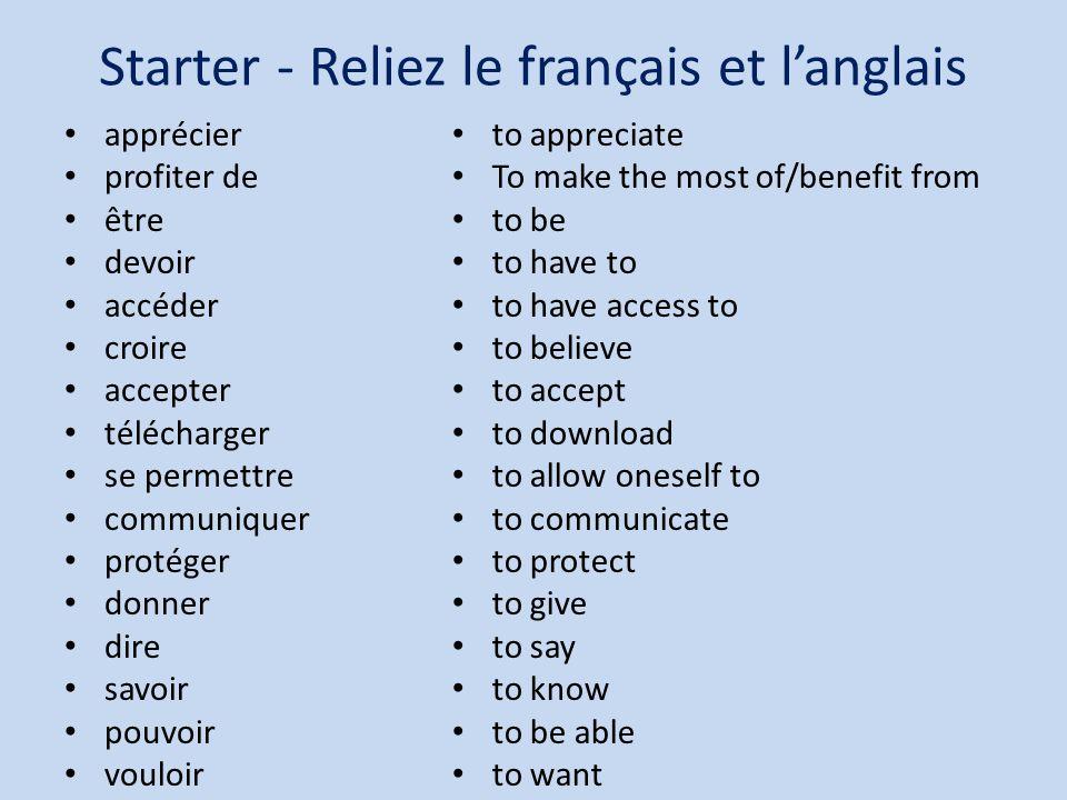Starter - Reliez le français et l'anglais