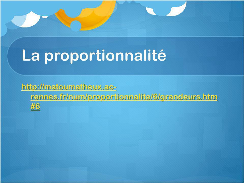 La proportionnalité http://matoumatheux.ac- rennes.fr/num/proportionnalite/6/grandeurs.htm #6