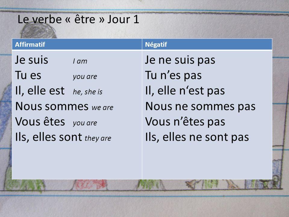 Le verbe « être » Jour 1 Je suis I am Tu es you are