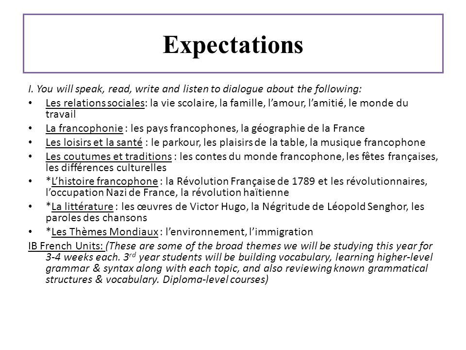 Expectations I. You will speak, read, write and listen to dialogue about the following: