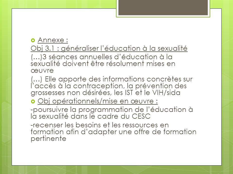 Annexe : Obj 3.1 : généraliser l'éducation à la sexualité. (…)3 séances annuelles d'éducation à la sexualité doivent être résolument mises en œuvre.