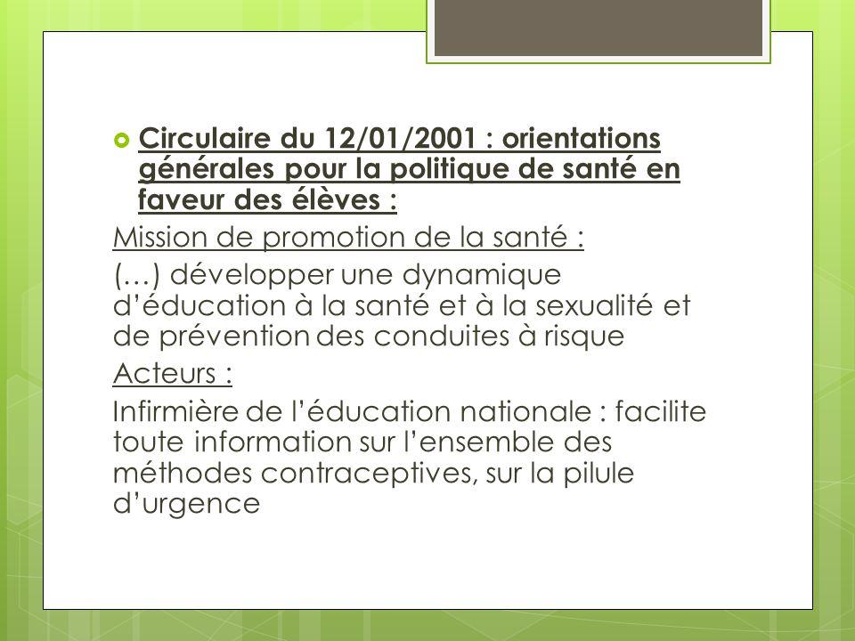 Circulaire du 12/01/2001 : orientations générales pour la politique de santé en faveur des élèves :