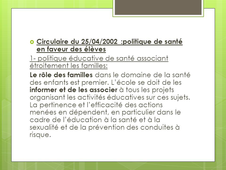 Circulaire du 25/04/2002 :politique de santé en faveur des élèves
