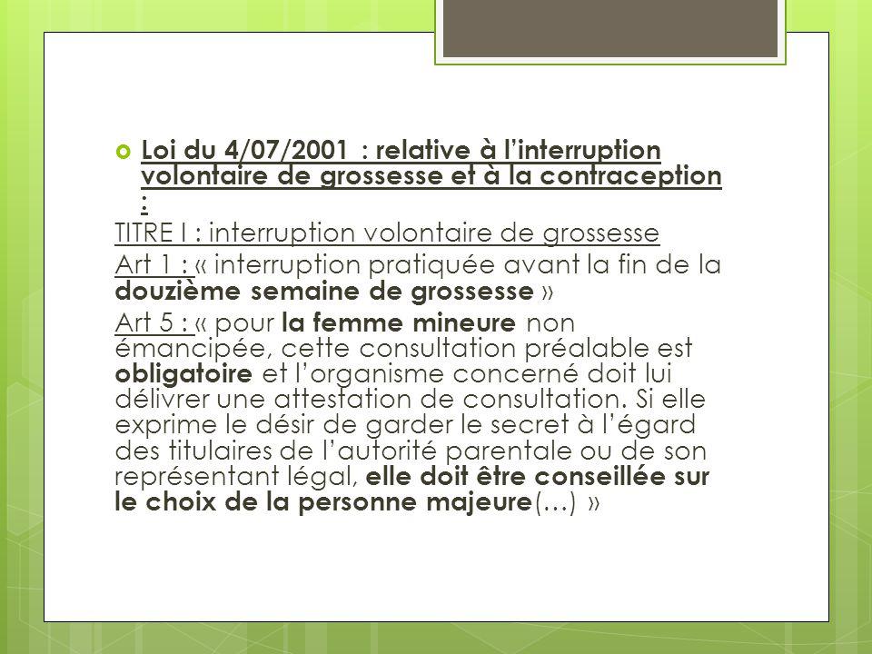 Loi du 4/07/2001 : relative à l'interruption volontaire de grossesse et à la contraception :