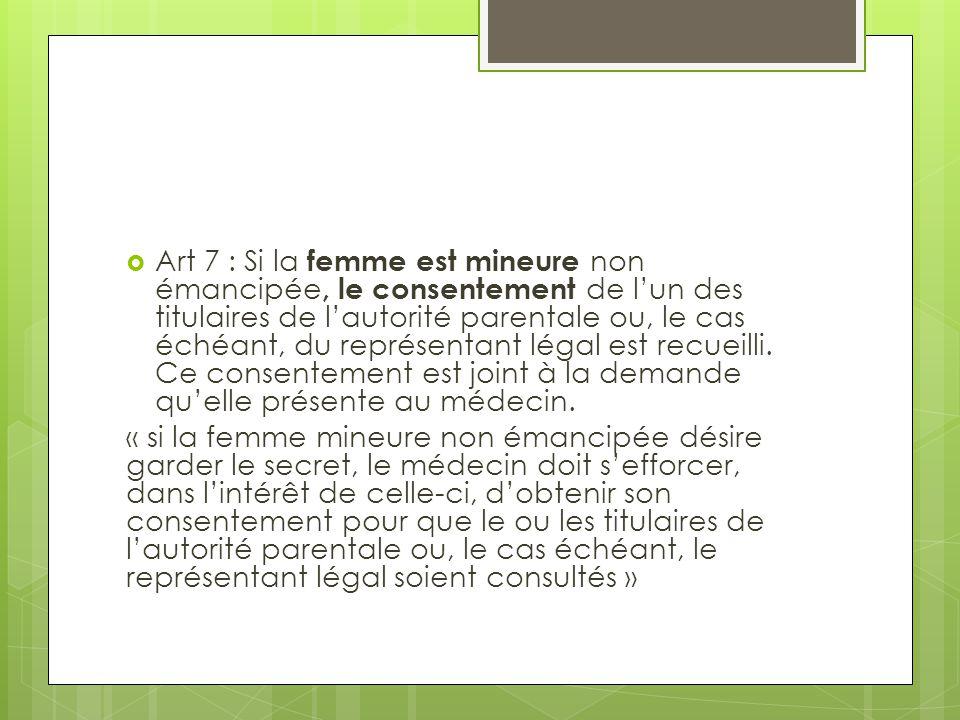 Art 7 : Si la femme est mineure non émancipée, le consentement de l'un des titulaires de l'autorité parentale ou, le cas échéant, du représentant légal est recueilli. Ce consentement est joint à la demande qu'elle présente au médecin.