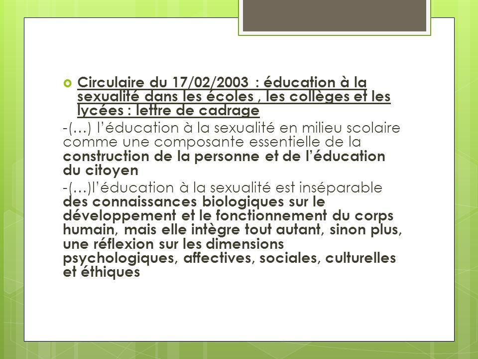 Circulaire du 17/02/2003 : éducation à la sexualité dans les écoles , les collèges et les lycées : lettre de cadrage