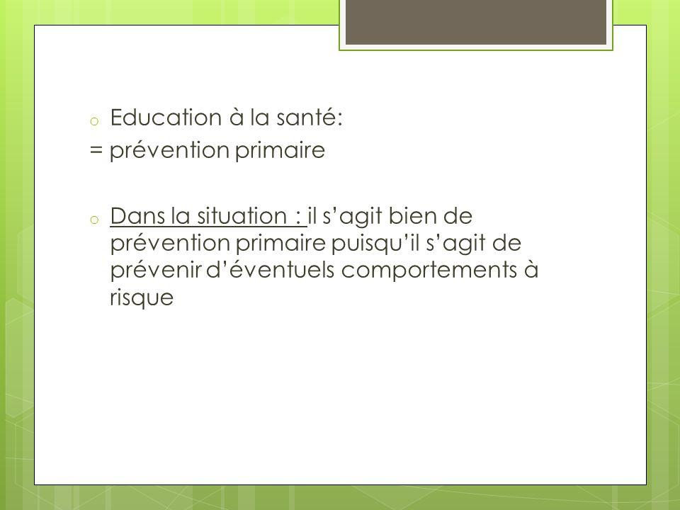 Education à la santé: = prévention primaire.