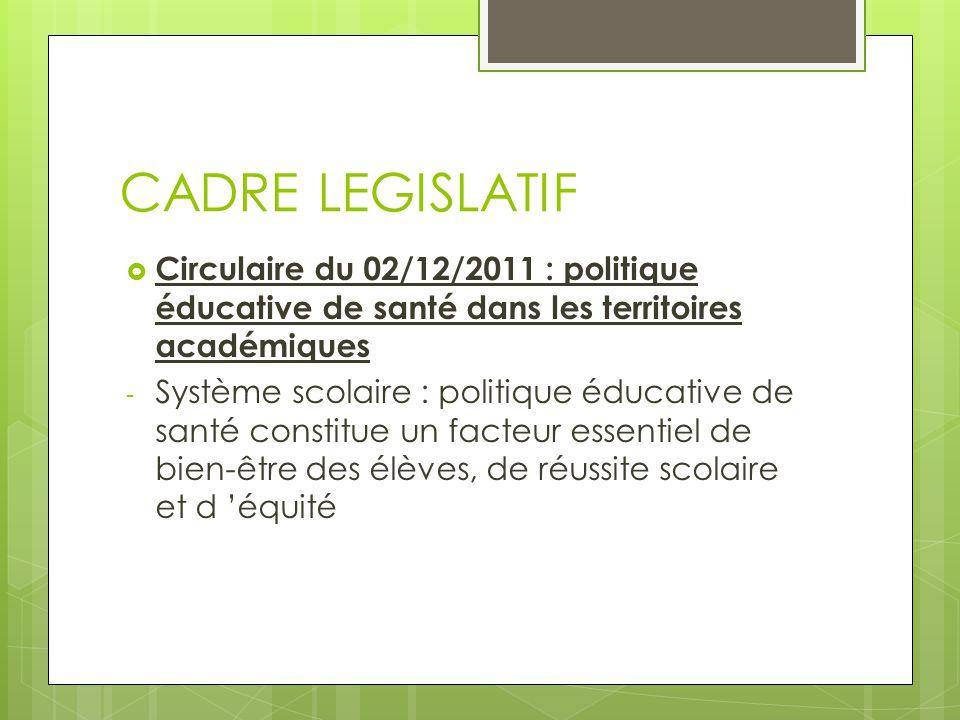 CADRE LEGISLATIF Circulaire du 02/12/2011 : politique éducative de santé dans les territoires académiques.
