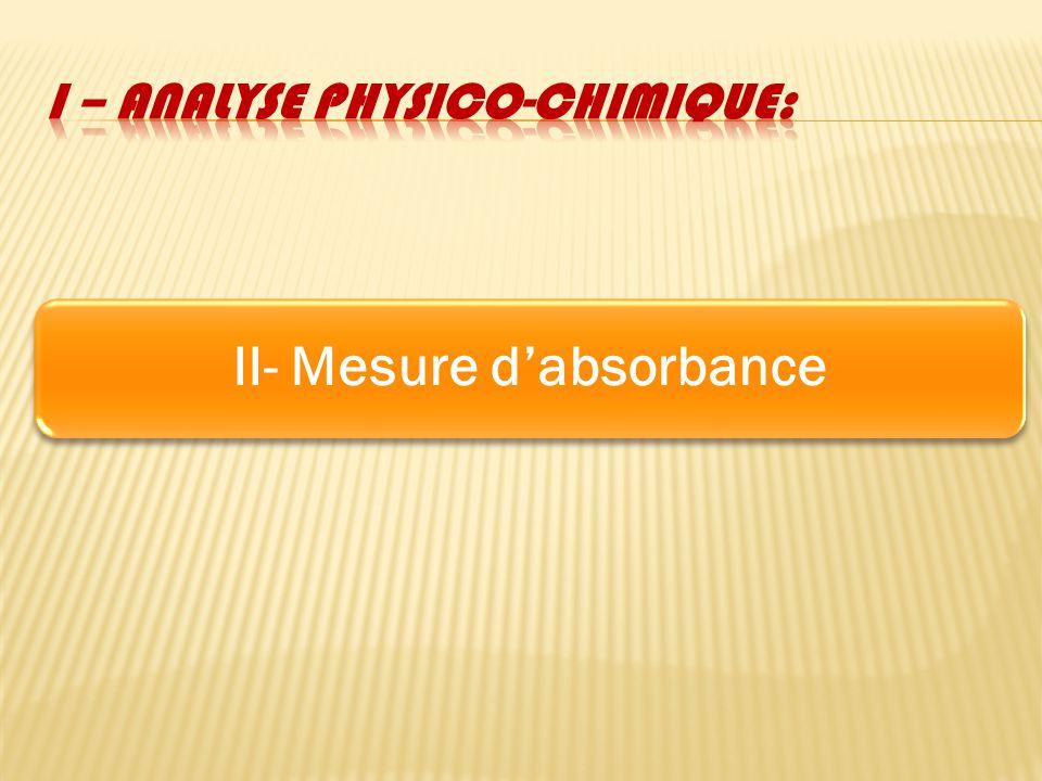I – analyse physico-chimique: