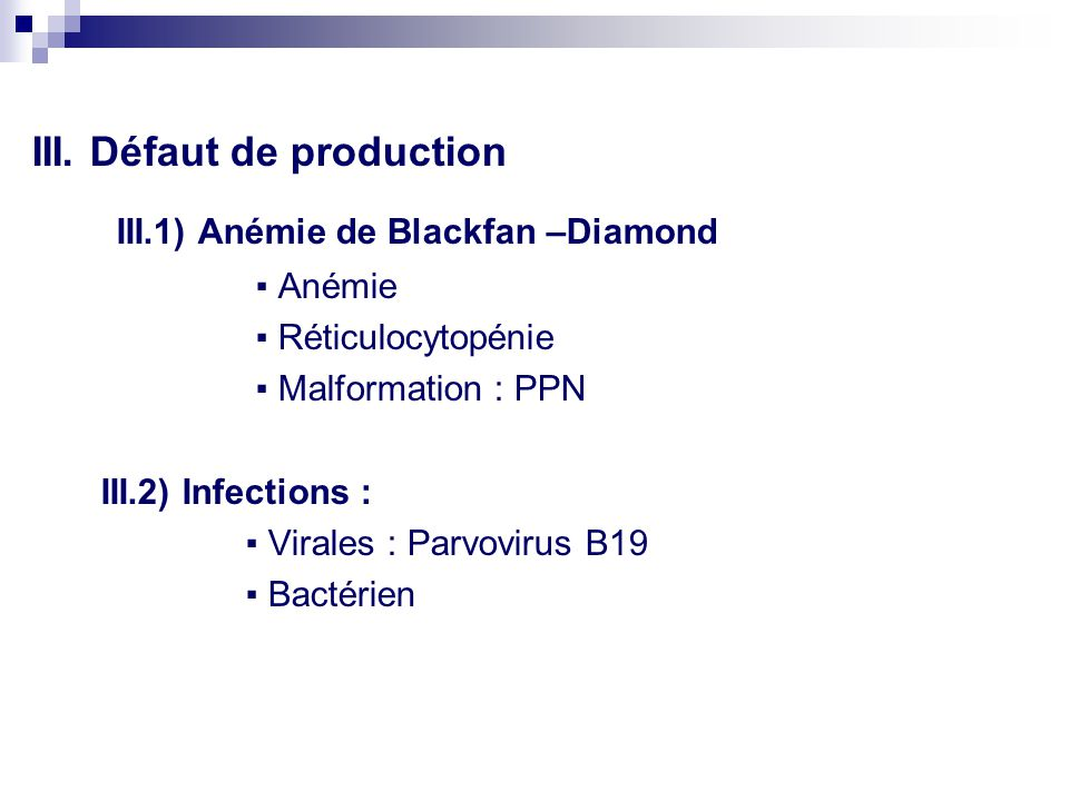 III.1) Anémie de Blackfan –Diamond
