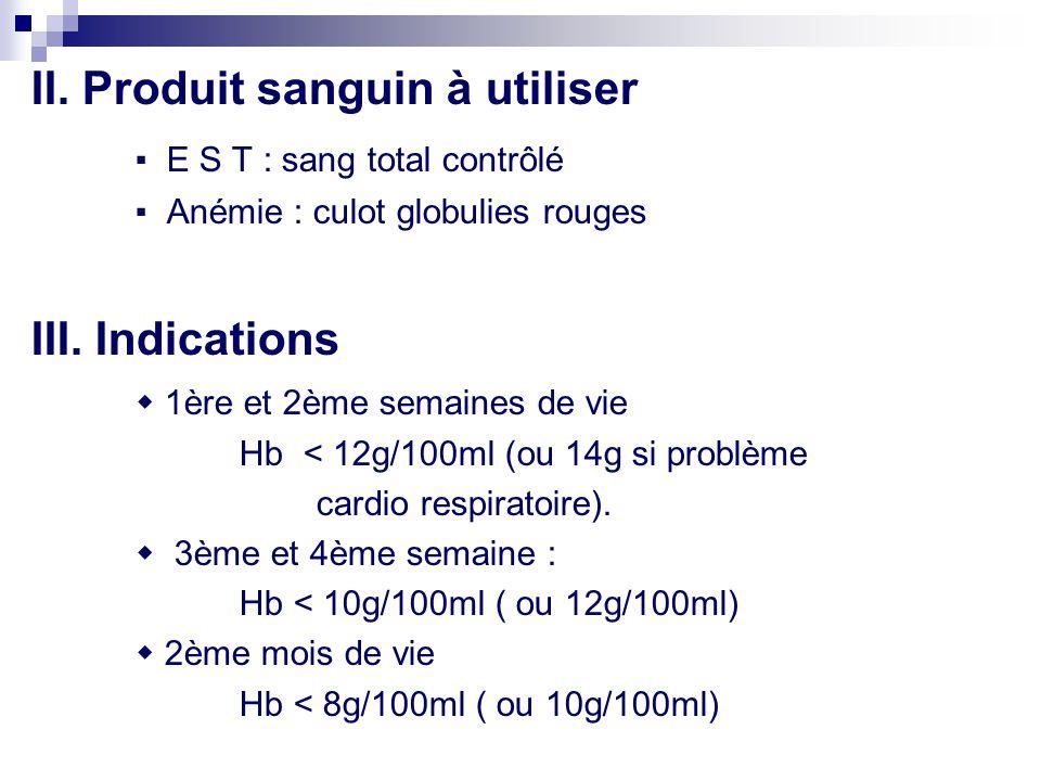 II. Produit sanguin à utiliser ▪ E S T : sang total contrôlé