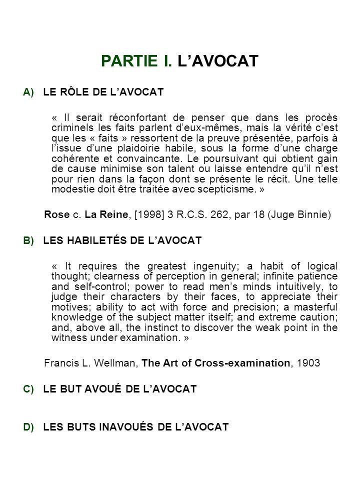 PARTIE I. L'AVOCAT A) LE RÔLE DE L'AVOCAT