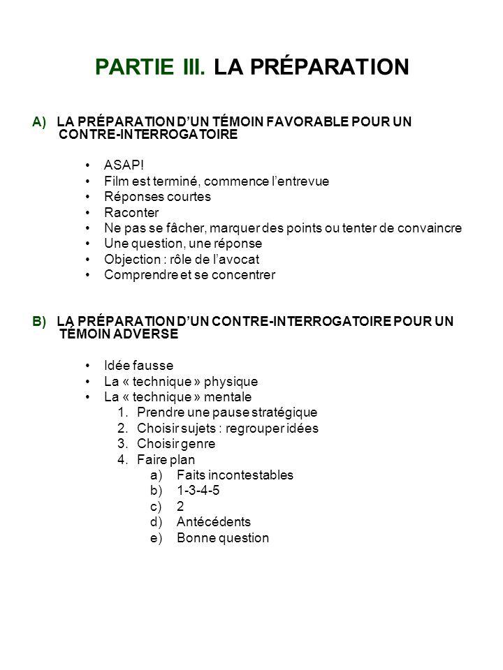 PARTIE III. LA PRÉPARATION