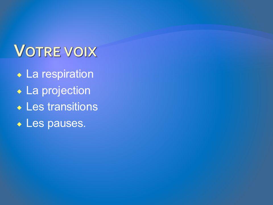Votre voix La respiration La projection Les transitions Les pauses.