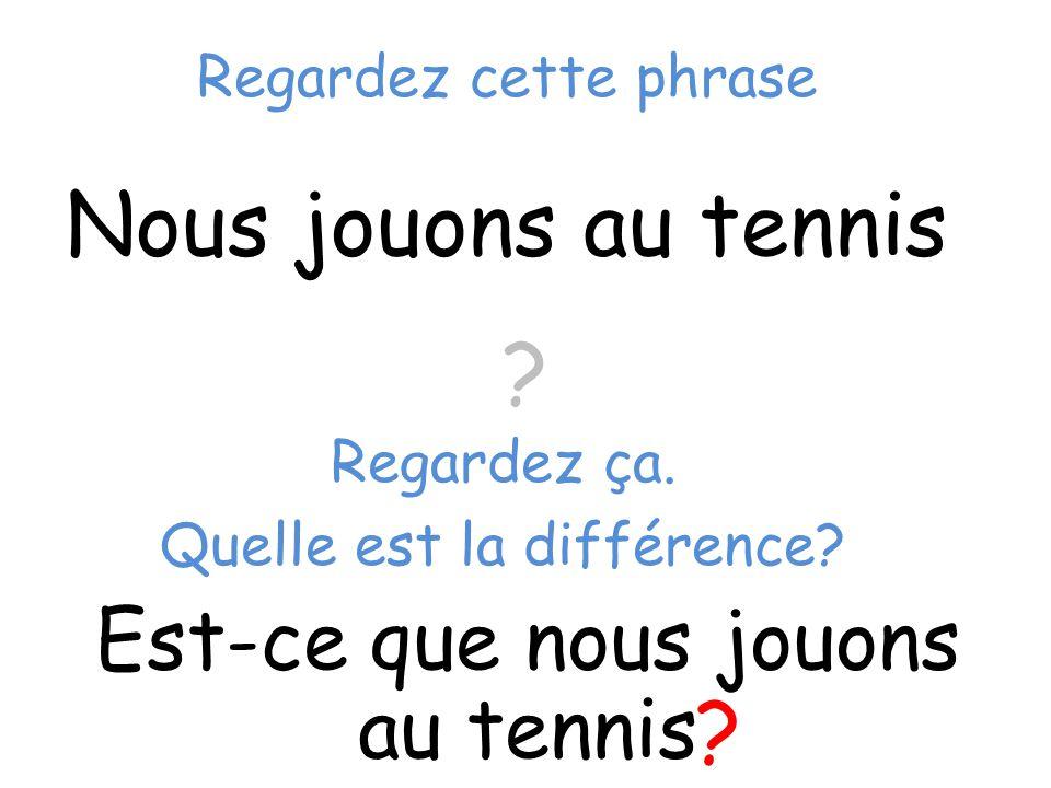 Nous jouons au tennis Est-ce que nous jouons au tennis