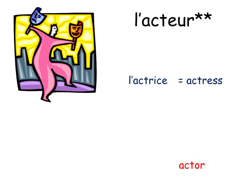 l'acteur** l'actrice = actress actor