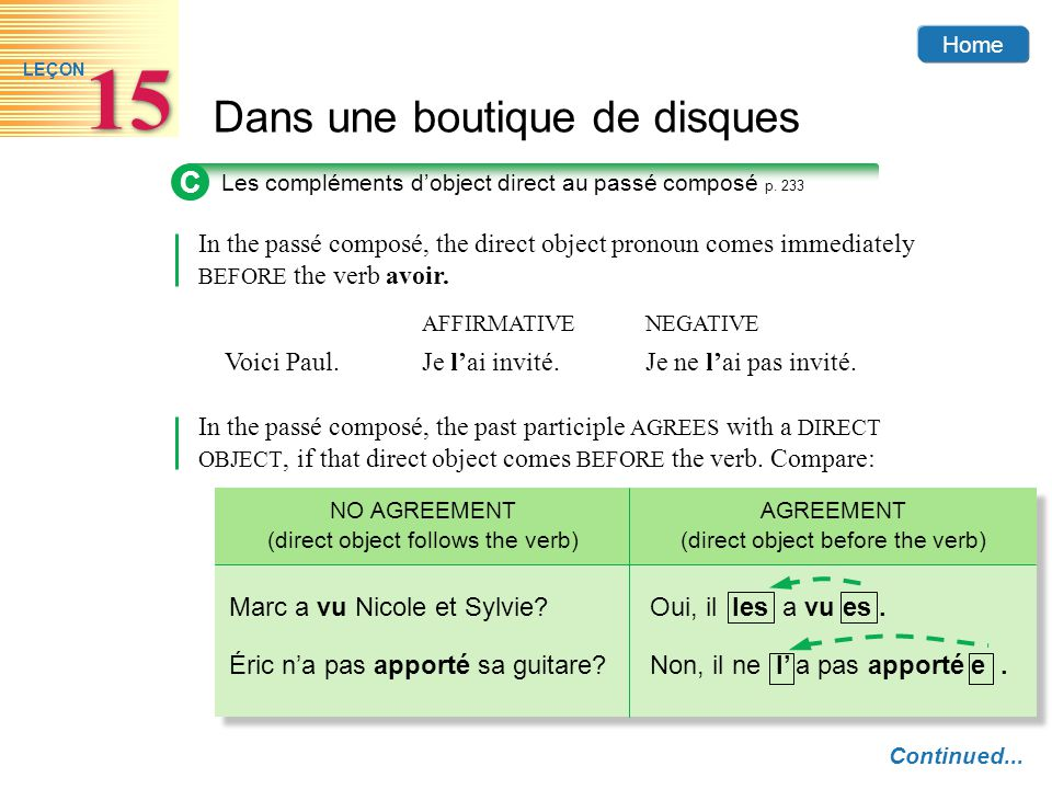 C Les compléments d'object direct au passé composé p. 233. In the passé composé, the direct object pronoun comes immediately BEFORE the verb avoir.