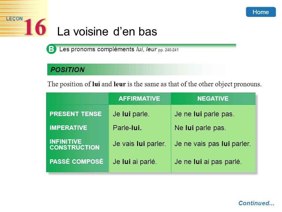 B Les pronoms compléments lui, leur pp. 240-241. POSITION. The position of lui and leur is the same as that of the other object pronouns.