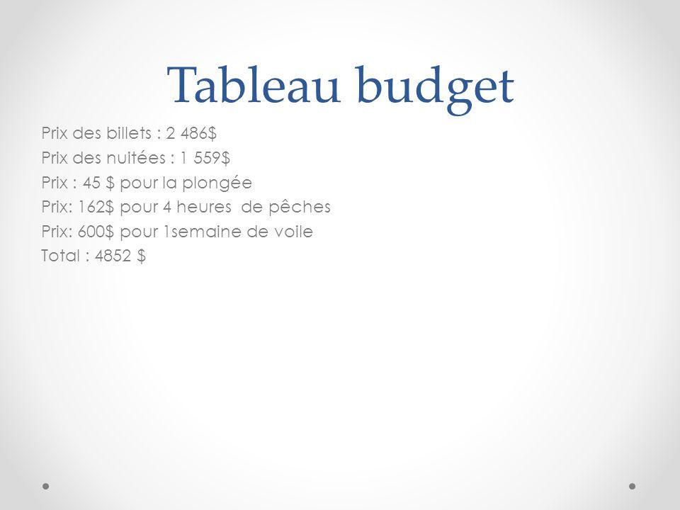 Tableau budget
