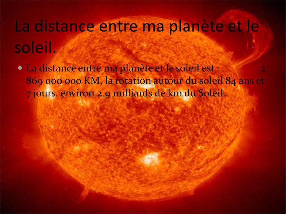 La distance entre ma planète et le soleil.