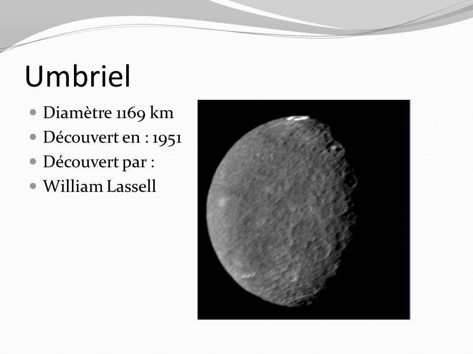 Umbriel Diamètre 1169 km Découvert en : 1951 Découvert par :