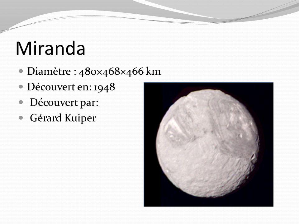 Miranda Diamètre : 480×468×466 km Découvert en: 1948 Découvert par: