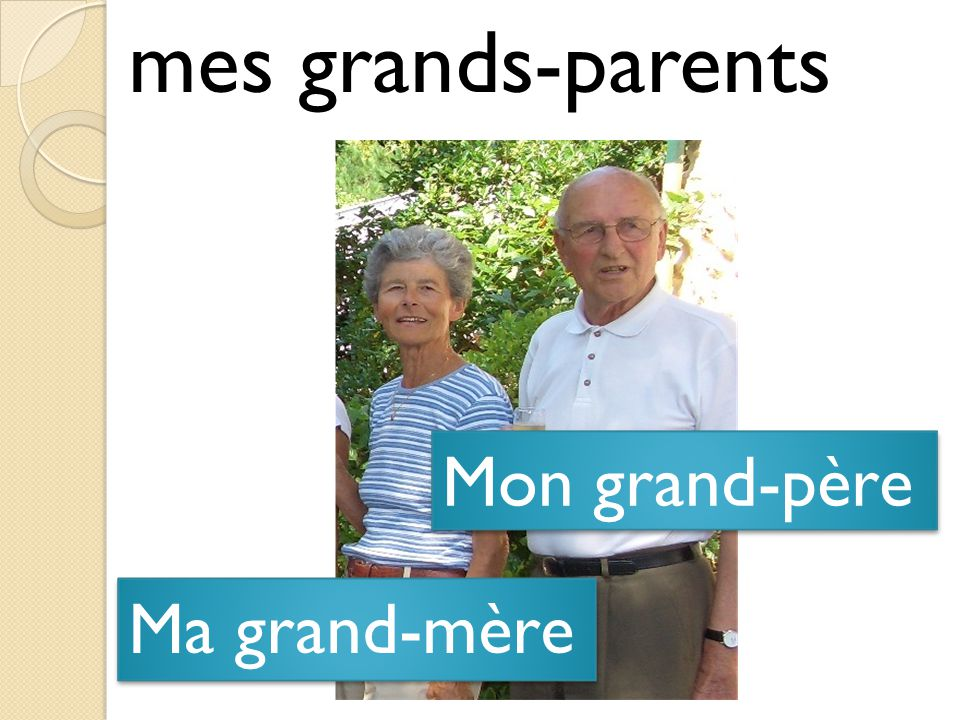 mes grands-parents Mon grand-père Ma grand-mère