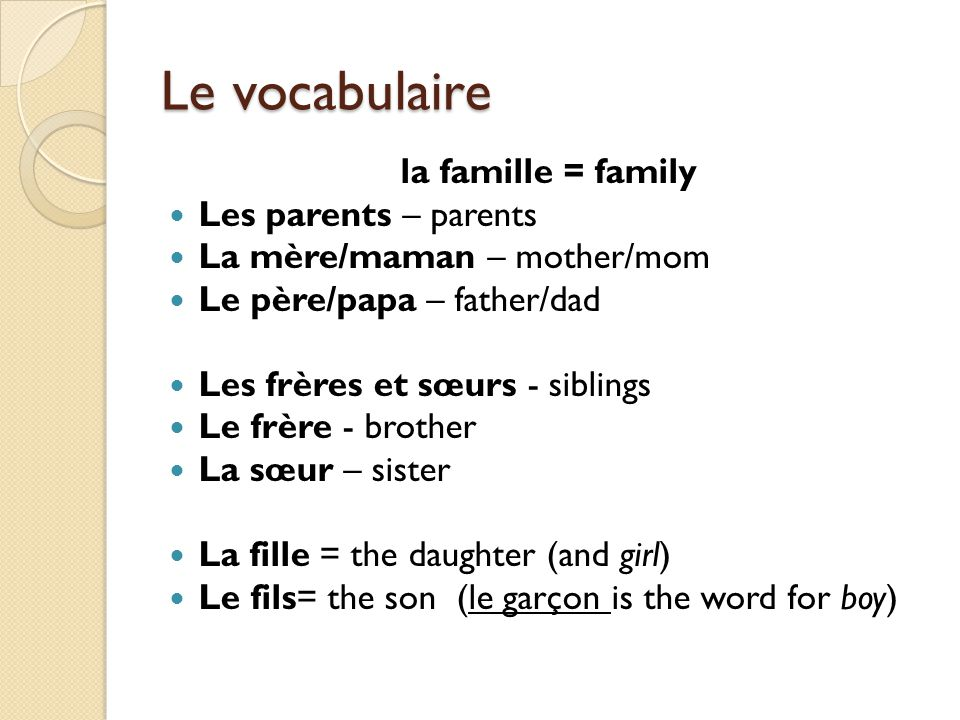 Le vocabulaire la famille = family Les parents – parents