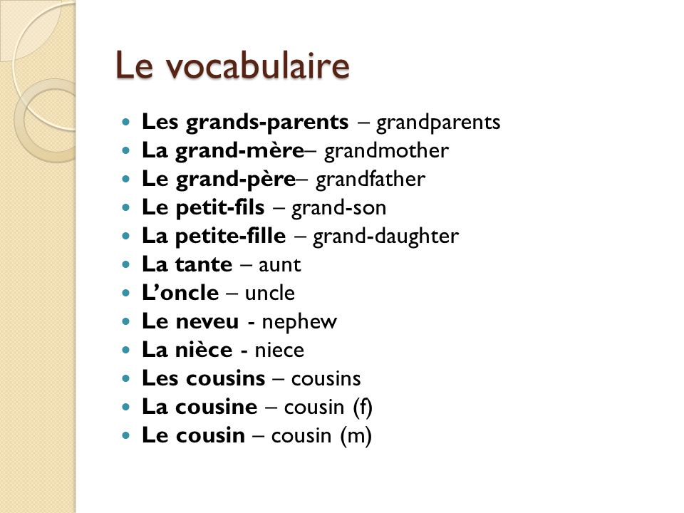 Le vocabulaire Les grands-parents – grandparents