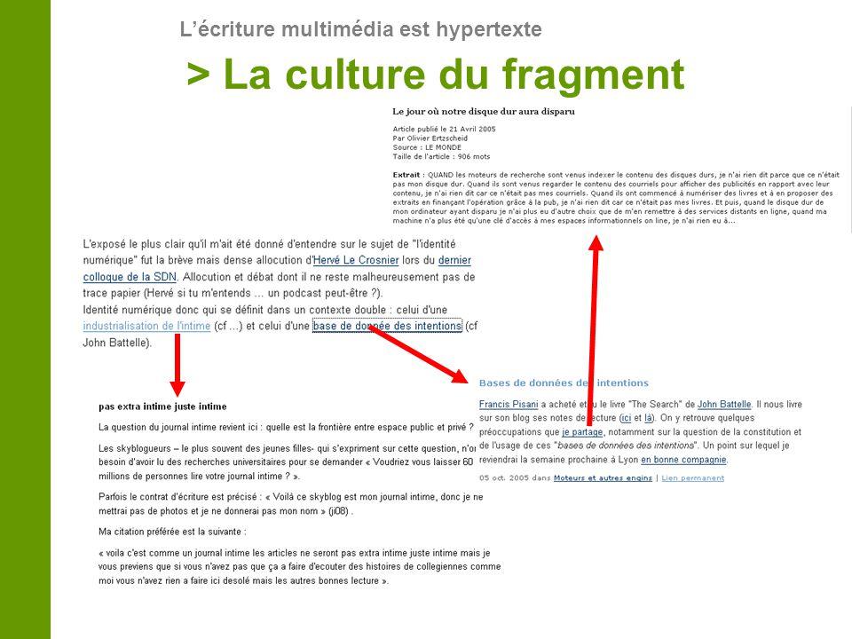 > La culture du fragment