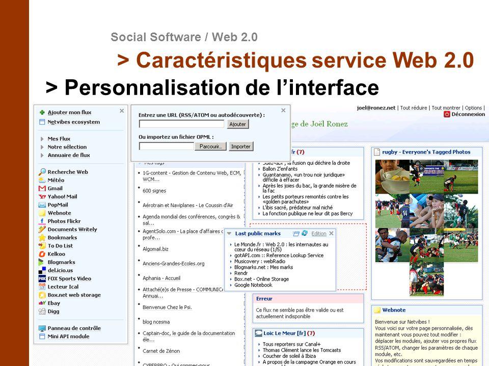 > Personnalisation de l'interface