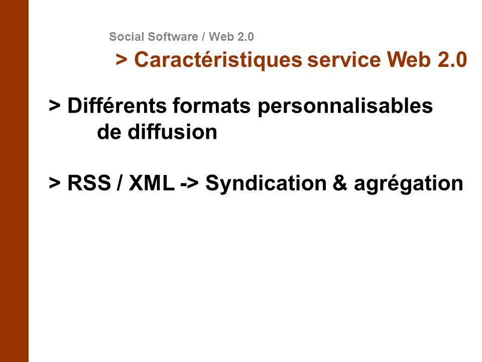 > Différents formats personnalisables de diffusion