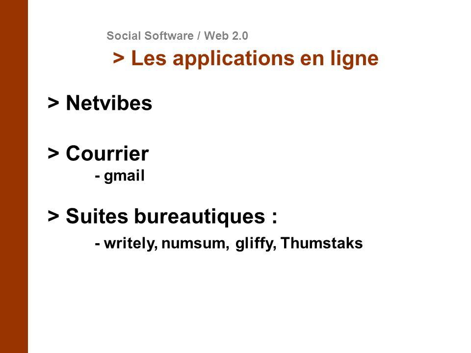 > Suites bureautiques : - writely, numsum, gliffy, Thumstaks