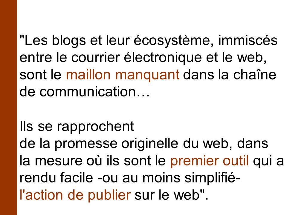 Les blogs et leur écosystème, immiscés entre le courrier électronique et le web, sont le maillon manquant dans la chaîne de communication… Ils se rapprochent