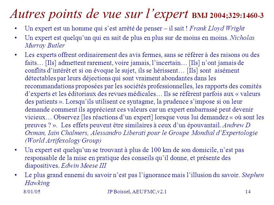 Autres points de vue sur l'expert BMJ 2004;329:1460-3