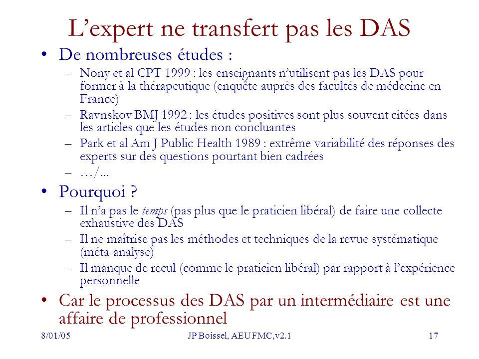 L'expert ne transfert pas les DAS